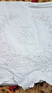 Antique Linen Bed Sheet Hand Embroidered Monogrammed S 68x104 Broderie Anglaise
