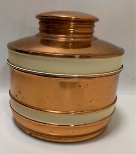 Vintage Chase Copper Art Deco Storage Container Jar With Lid