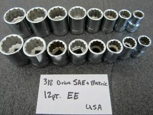Vintage Craftsman 3 8 Drive 12pt Metric Sae Socket Set 16pc Made In Usa