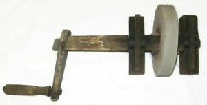 Antique Grindstone Sharpening Stone Mill Wheel 9 Inch Od W Wood Hand Crank
