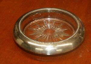 Vintage Frank M Whiting Sterling Silver Glass Beaded Coaster 5