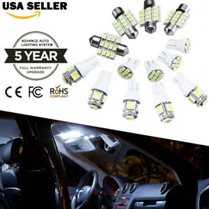 13pcs Led Lights Interior Package Kit White Dome Map License Plate Lamp Bulbs