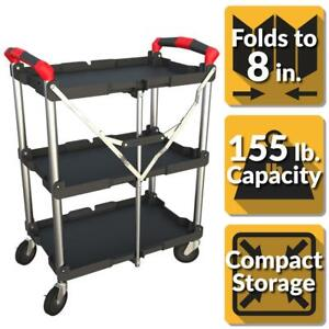 Pack N Roll 3 shelf Collapsible 4 wheeled Resin Multi purpose Utility Cart