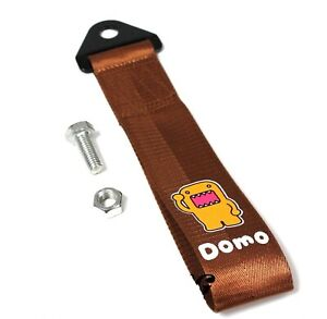 1x Brown Jdm Domo Racing Drift Rally Car Tow Towing Strap Belt Hook Universal
