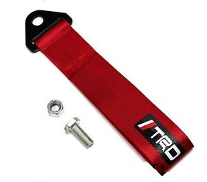 1x Red Jdm Trd Racing Drift Rally Car Tow Towing Strap Belt Hook Universal