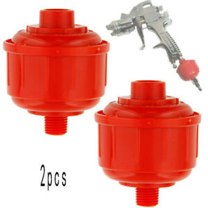 2pcs Red Disposable Mini Air Filter Water Trap For Hvlp Inlet Paint Spray Gun