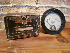 Vintage Jewell Electrical Dc Volts Gauge Steampunk Radio Instrument In Box
