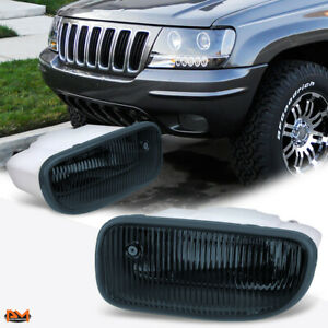 For 99 01 Jeep Grand Cherokee Oe Style Smoked Lens Front Bumper Fog Light Lamp