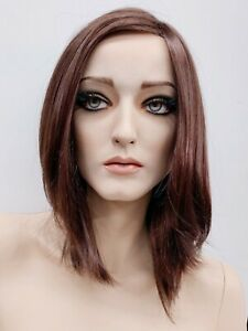 Rootstein Hardcap Mannequin Wig Brown Mid length Side Part Patina Vtg Hard Cap