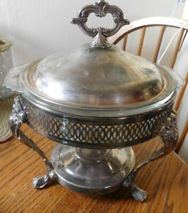 Vtg Leonard Silver Silverplate Covered Chafing Warming Dish W Qt Pyrex Dish