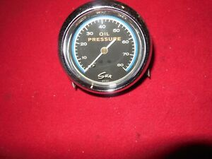 Vintage Sun Blueline 0 80 Psi 2 5 8 Inch Mechanical Oil Pressure Gauge Gasser 32