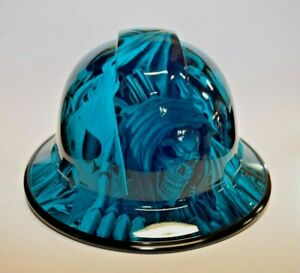 Custom Wide Brim Hard Hat Hydro Dipped In Candy Teal Ace Of Skulls B g
