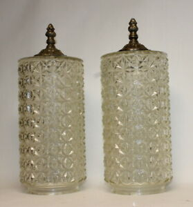 2 Vintage Mid Century Modern Swag Hanging Glass Cylinder Glass Shades Lamp