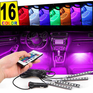 4pcs 36 Led Car Interior Usb Atmosphere Lights Strip Wireless Ir Remote Control