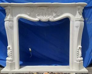 Beautiful Hand Carved Marble French Style Estate Fireplace Mantel Ttm9
