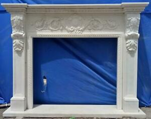 Beautiful Hand Carved Marble French Style Estate Fireplace Mantel Ttm10