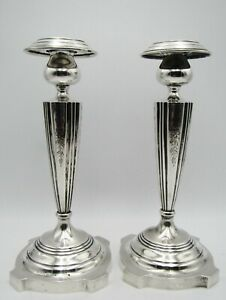 Antique Signed A G Sterling Silver 10 Tall Candlestick Candle Holder Set