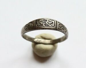 Authentic Medieval Viking Silver Ring With Runic Ornament 8th 10th Century