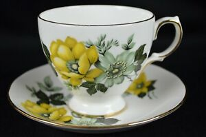 Queen Anne Bone China Yellow Floral Tea Cup And Saucer Made In England