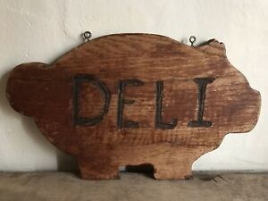 Sweet Old Vintage Wooden Hanging Pig Form Cutting Board Deli Sign Folky Aafa