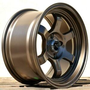 4 Jnc013 Bronze 15x8 4x100 25 Offset Jnc Wheels Set Single Drill