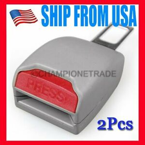 Us Gray Seat Belt Buckle Extender Safety Alarm Stopper 2pcs Fit Toyota Corolla