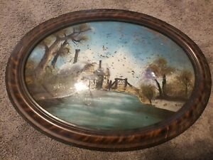 Vintage Convex Glass Oval Frame Reverse Painted Bubble Glass Tiger Stripe B