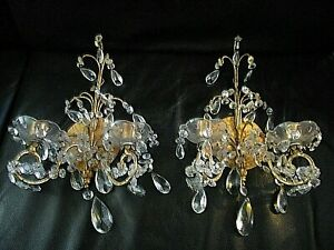 Pair 2 Vintage Italian Gilt Tole Wall Sconces Loaded With Crystal 15 X 9 Fine