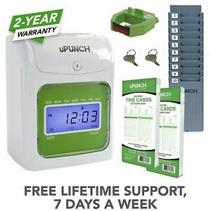 Upunch Starter Time Clock Bundle With 100 cards 1 Time Card Rack 1 Ribbon 2
