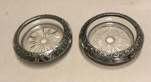 Whiting 2 Botticelli Coasters Sterling Silver Glass 3 3 4