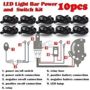 10x Universal Led Fog Light Driving Lamp Wiring Harness Fuse Switch Relay Wiring