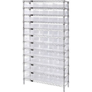 Quantum Wire Shelving Sys W 44 Clear Bins 12 shelf Unit 36inwx12indx74inh