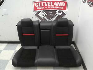 2011 2014 Dodge Challenger Srt Oem Leather Black Rear Seat Seats Red Stripe