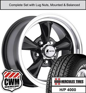 15 Inch 15x7 15x8 930b Wheels Tires For Dodge Charger 1968 1978 Black Rims