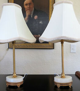 Antique Small Pair French Alabaster Marble Boudoire Side Table Lamps Gold Gilt