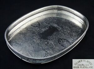 Vintage Oval Cavalier Chased Pierced Gallery Butler Serving Tray Silver Plated
