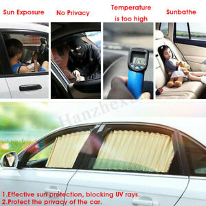 Car Sun Shade Curtains Side Window Visor Protect Privacy Cover Black 50 47cm