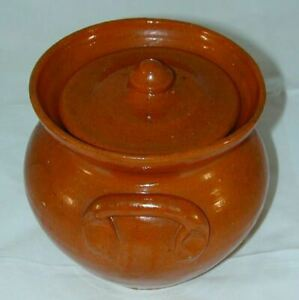 Antique Jugtown Salmon Color Glaze Redware Jar Lid 582