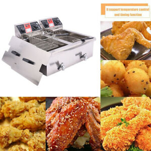 30l Commercial Deep Fryer W timer Drain Fast Food French Frys Electric Cooker