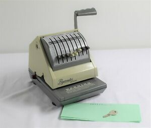 Vintage Paymaster 9000 8 Check Writer Protector Beige On Gray W key
