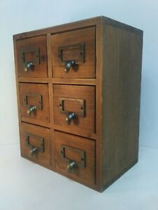 Small Card File 6 Drawers Wooden Organizer Vintage Box 11 Inches High
