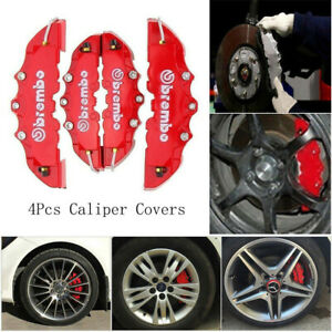 4pcs 3d Style Red Abs Car Universal Disc Brake Caliper Covers Front Rear Kit