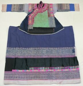 Chinese Minority Old Local Cloth Hand Embroidery Batik Costume Jacket Skirt Set