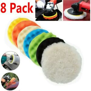 8pcs 5 Inch Polishing Pad Sponge Buff Buffing Kit Set For Car Polisher Us