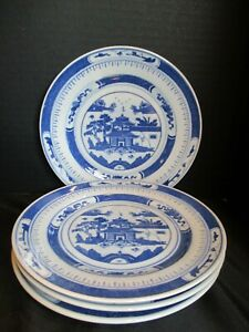 Vintage Chinese Export Blue White Canton 4 Salad Plates 7