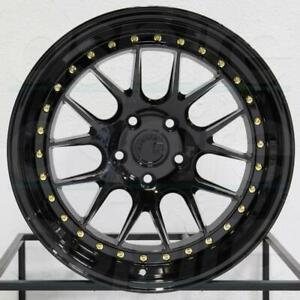 18x8 5 Black Wheels Aodhan Ds06 5x100 35 Rims Fit Vw Jetta Golf 18 Inch Set 4