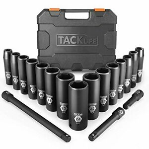 Tacklife 1 2 inch Drive Master Deep Impact Socket Set Metric cr v 6 Point 18 p
