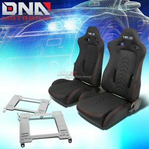 Nrg Black Reclinable Racing Seats Full Stainless Bracket For 99 04 Mustang Sn