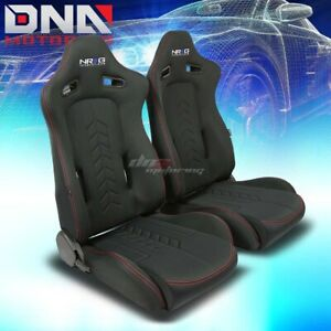 2x Nrg Canvas Red Stitches Reclinable Racing Seats Stainless Adjustable Sliders