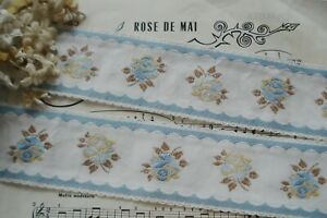1y Vintage French 2 1 4 Ombre Blue Gold Rose Flower Scallop Jacquard Ribbon Trim